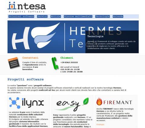 Homepage sito Intesa